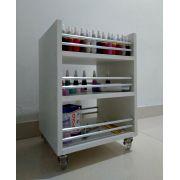 Carrinho auxiliar c/rodízios P/manicures 33x45x30 3 bandejas p/até 120 esmaltes TIPO Cirandinha