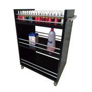 Carrinho auxiliar P/ manicures ALUMINIO preto C/compartimento p/ até 150 esmaltes