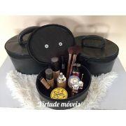Frasqueira De Maquiagens,esmaltes E Acessórios Kit C/3 Peças PRETA