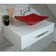 Gabinete p/ banheiro C/cuba folha +torneira+cifão kit completo