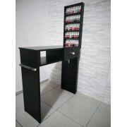 KIT Manicure 80cm  Mesa com GAVETA + expositor todo preto c/ Barras aluminio