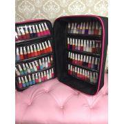 Maleta Mochila P/manicures P/90 Esmaltes Bolsa PRETO Com Pink