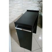 Mesa P/Manicure Mdf Preto 80cm c/ prateleira e alças cromadas