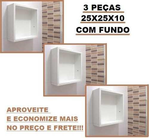 Kit 3 Nichos Com Fundo 25x25x10-100%mdf  - Virtude Móveis