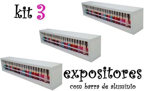 3 Expositor De Esmaltes 60x13x10 C/ Barra De Alumínio Nicho  - Virtude Móveis