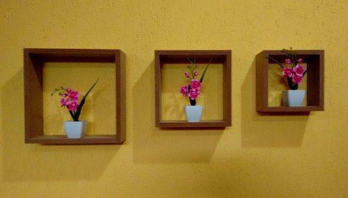 Trio De Nichos Cru Sem Pintura 30x25x20 10cm  - Virtude Móveis