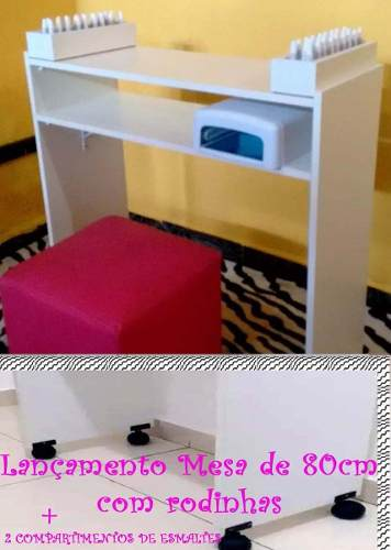 Mesa P/manicure C/2 Compartimento P/esmalte C/ Rodinhas 80cm  - Virtude Móveis