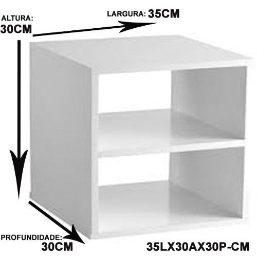 Criado Mudo Suspenso 35x30x30 Cm 100% Mdf 15mm Branco  - Virtude Móveis