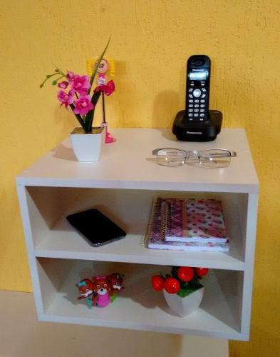 Mesa de cabeceira Suspenso 40x30x35 Cm 100% Mdf 15mm Branco  - Virtude Móveis