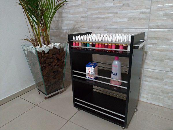 Carrinho Auxiliar Aluminio multi-uso Mdf Preto 3 Bandejas c/ rodinhas S/D  - Virtude Móveis