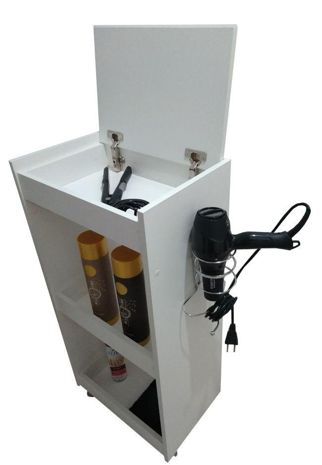 Carrinho Auxiliar P/ Cabeleireiros c/ TAMPA e suporte secador  - Virtude Móveis