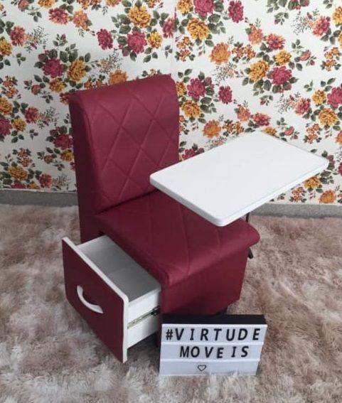Cirandinha Cadeira P/manicure Evidence Factor BORDÔ COM GAVETA  - Virtude Móveis
