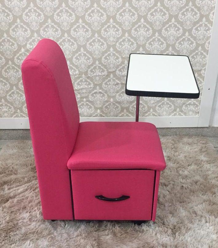Cirandinha Cadeira P/manicure COM GAVETA Factor Rosa Pink  - Virtude Móveis