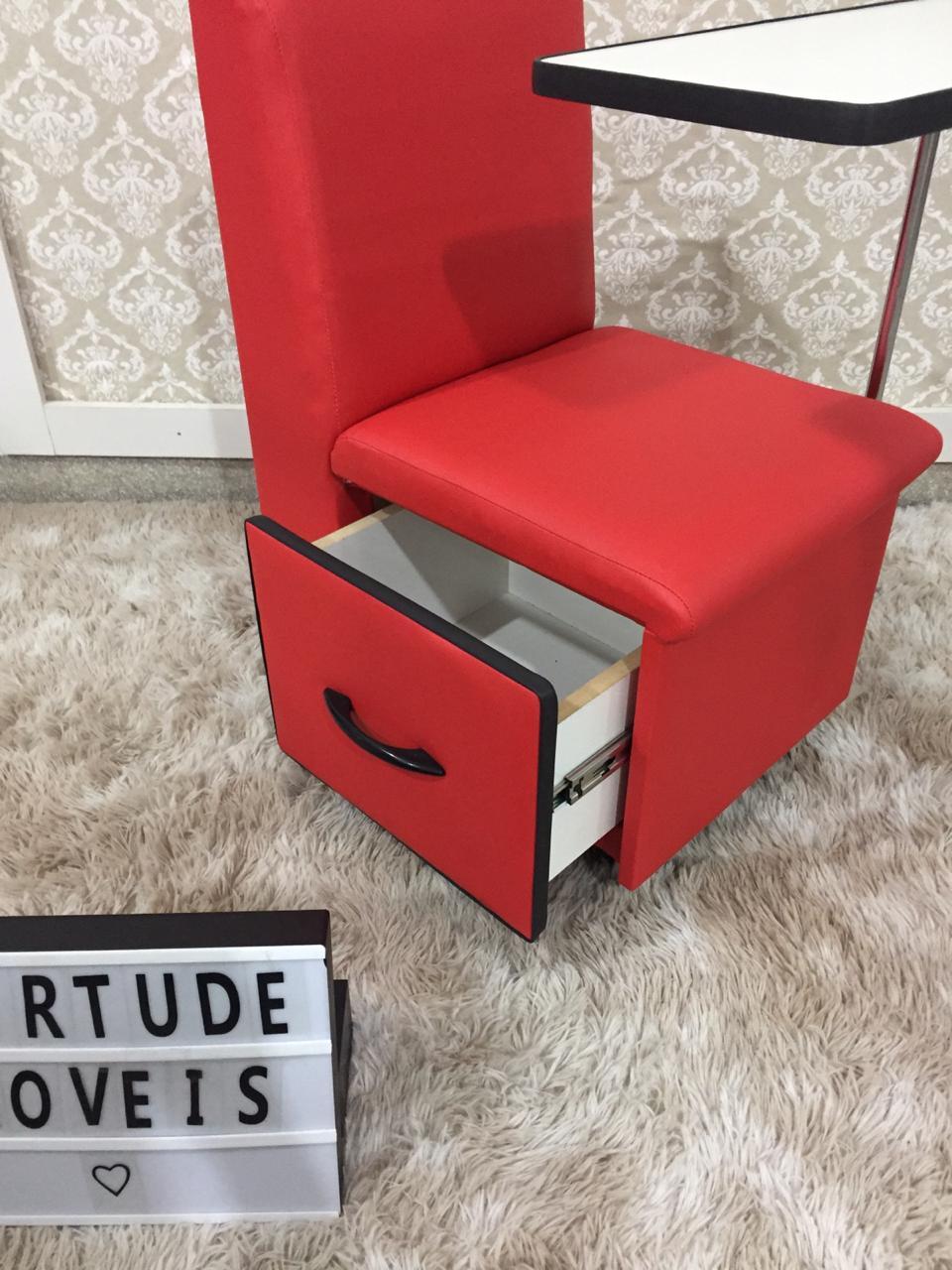 Cirandinha Cadeira P/manicure COM GAVETA Factor VERMELHA  - Virtude Móveis