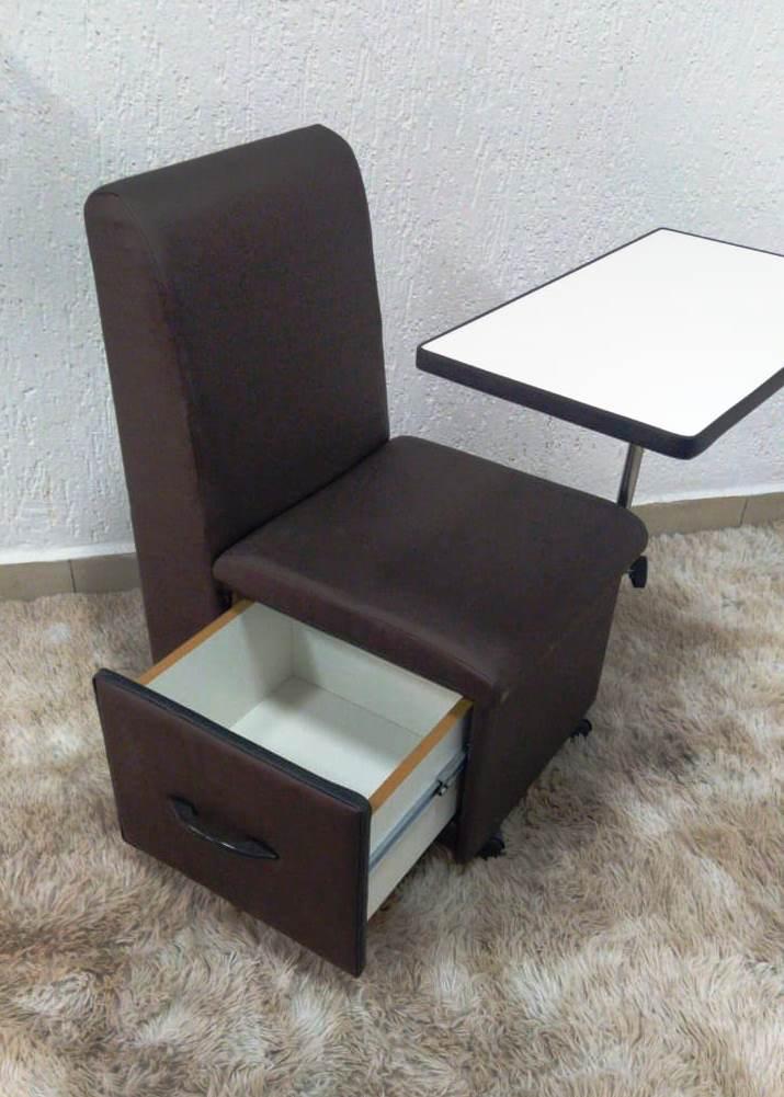 Cirandinha Cadeira P/manicure COM GAVETA FACTOR Marrom   - Virtude Móveis