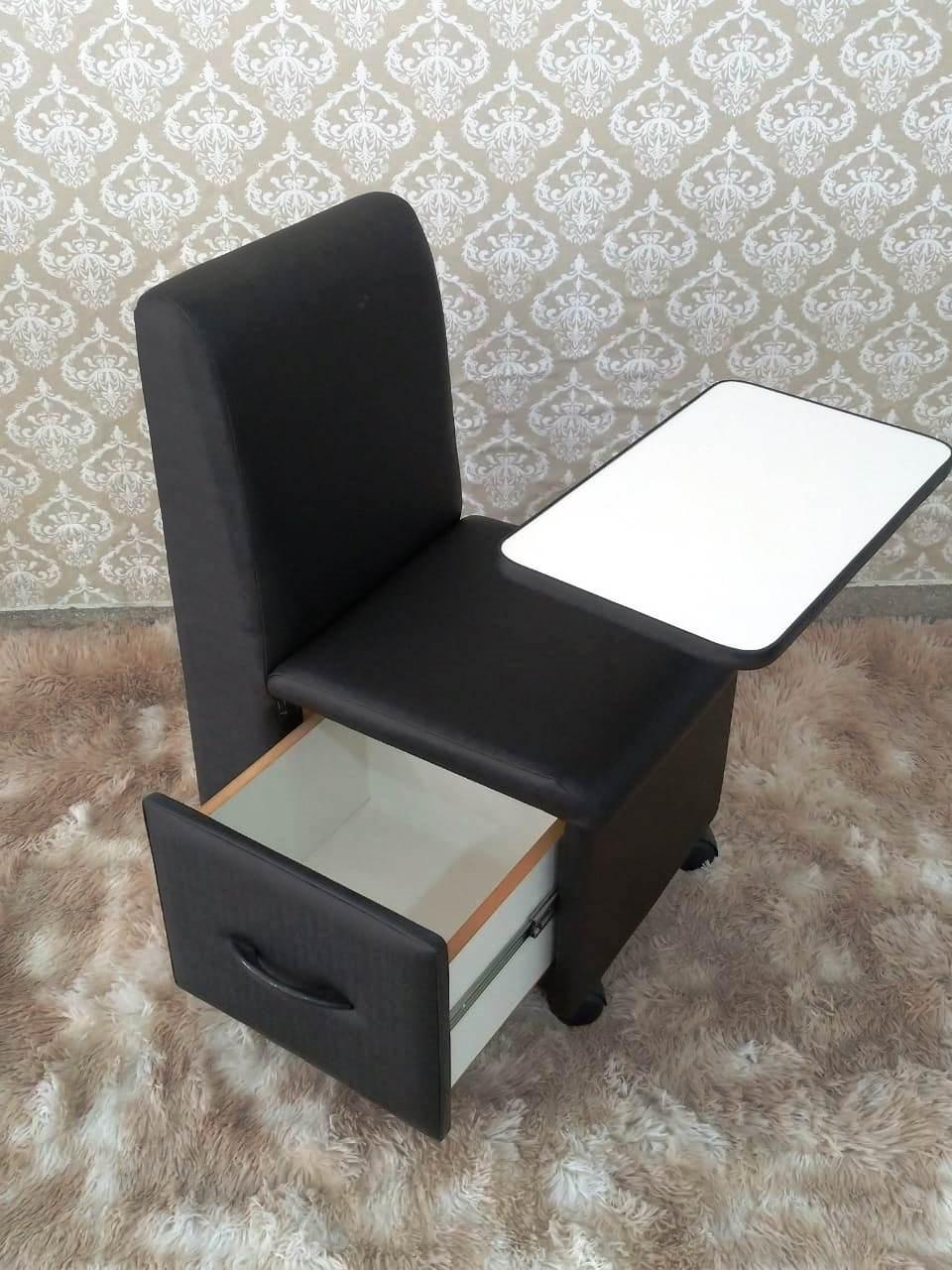 Cirandinha Cadeira P/manicure Preta Factor COM GAVETA  - Virtude Móveis
