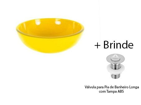Cuba De Vidro Redonda AMARELA P/ Banheiro Lavabo S/ Abas +VÁVULA+SIFÃO  - Virtude Móveis