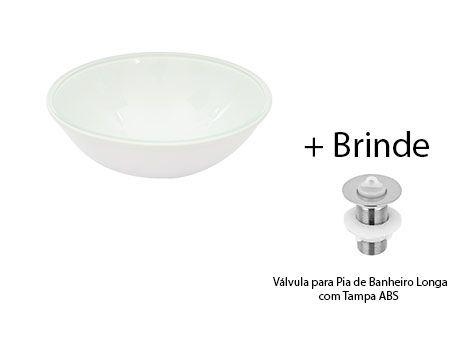 Cuba De Vidro Redonda BRANCA P/ Banheiro Lavabo S/ Abas +VÁVULA+SIFÃO  - Virtude Móveis