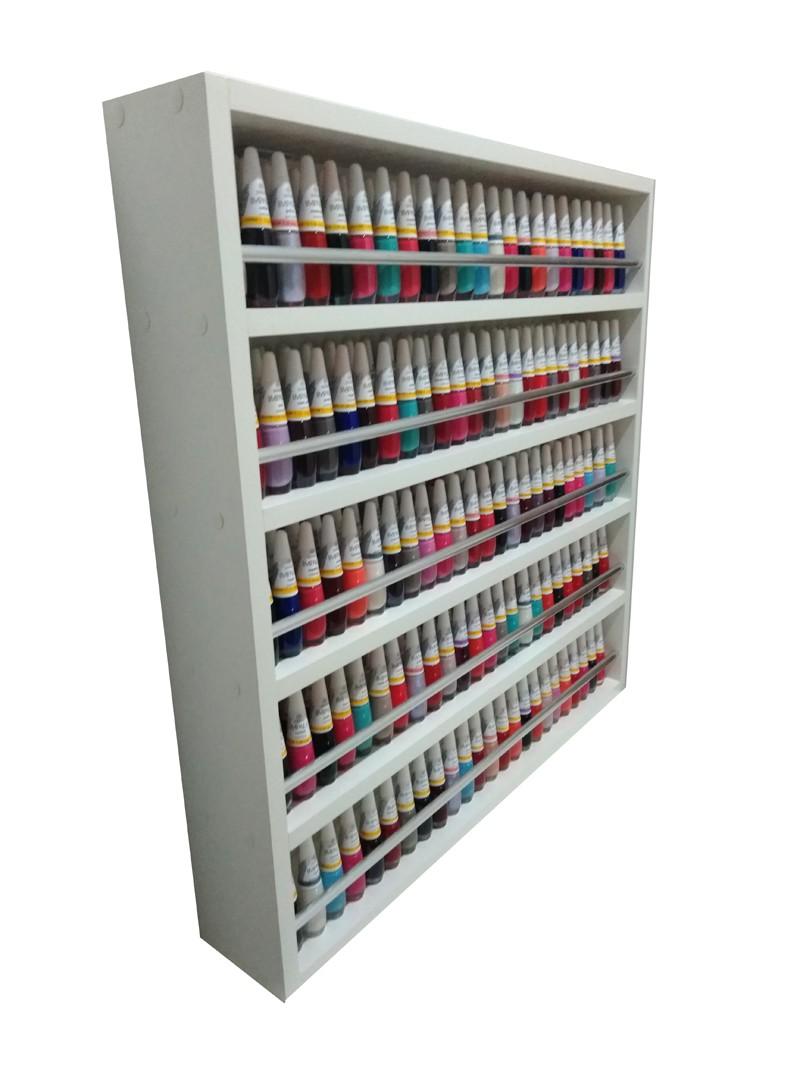 Expositor De Esmaltes C/barra De Alumínio P/ Até 340 esmaltes 60X60X10  - Virtude Móveis