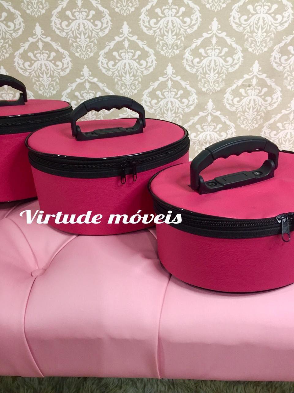 Frasqueira De Maquiagens,esmaltes E Acessórios Kit C/3 Peças PINK  - Virtude Móveis