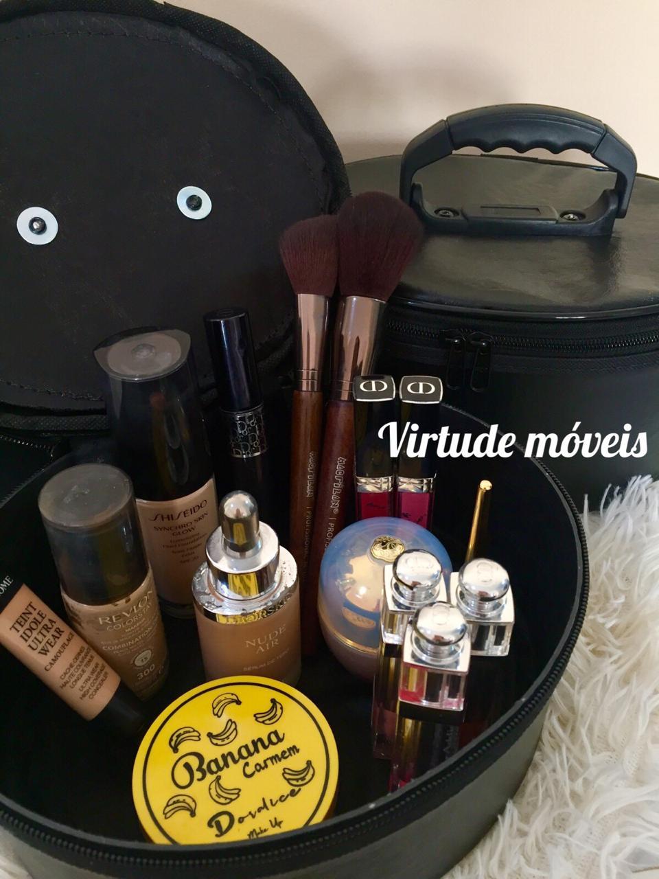 Frasqueira De Maquiagens,esmaltes E Acessórios Kit C/3 Peças PRETA  - Virtude Móveis