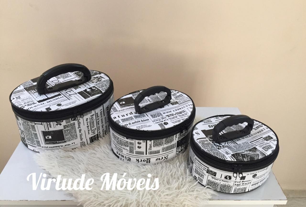 Frasqueira De Maquiagens,esmaltes E Acessórios Kit C/3 Peças PRETA/JORNAL  - Virtude Móveis