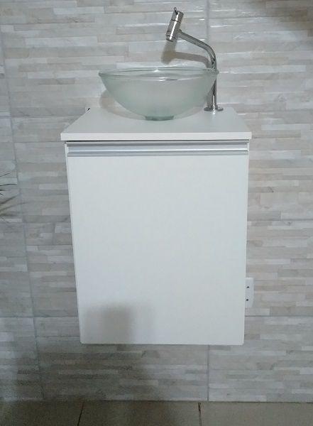 Gabinete de banheiro MDF Branco C/ porta P/ cuba de sobrepor  - Virtude Móveis