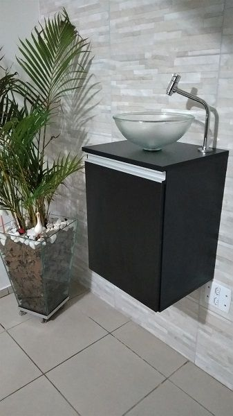 Gabinete de banheiro MDF Preto C/ porta P/ cuba de sobrepor  - Virtude Móveis