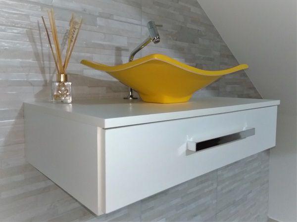 Gabinete p/ banheiro C/cuba folha +torneira+cifão kit completo  - Virtude Móveis