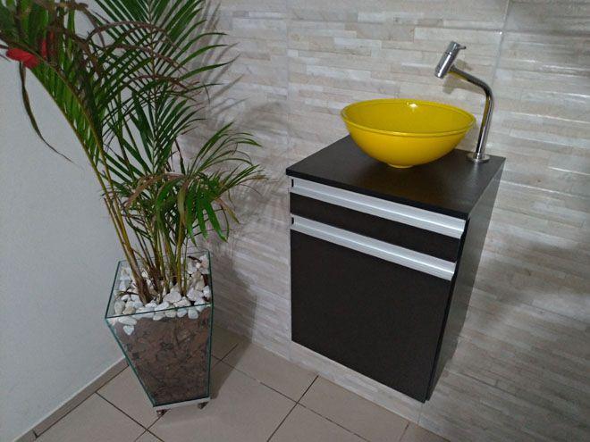 Gabinete p/banheiro MDF PRETO C/ porta e gaveta+CUBA AMARELA+TORNEIRA+VÁVULA+SIFÃO  - Virtude Móveis