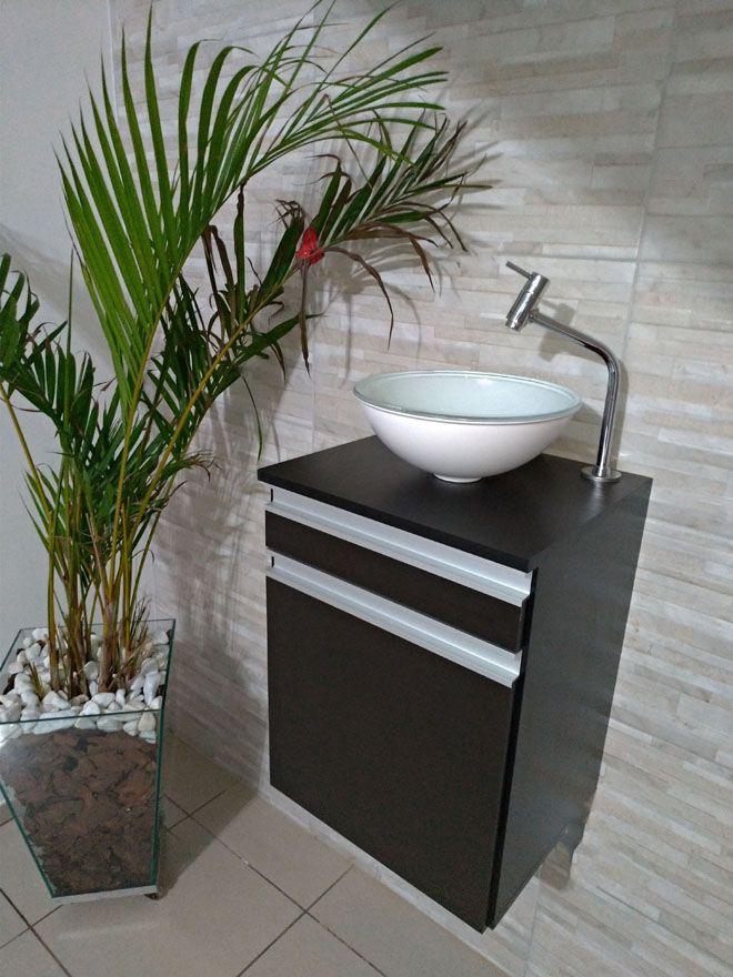 Gabinete p/banheiro MDF PRETO C/ porta e gaveta+CUBA BRANCA+TORNEIRA+VÁVULA+SIFÃO  - Virtude Móveis