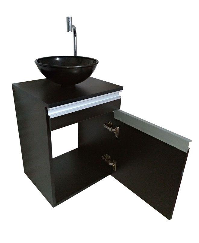 Gabinete p/banheiro MDF PRETO C/ porta e gaveta+CUBA PRETA+TORNEIRA+VÁVULA+SIFÃO  - Virtude Móveis