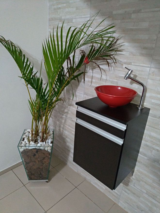 Gabinete p/banheiro MDF PRETO C/ porta e gaveta+CUBA VERMELHA+TORNEIRA+VÁVULA+SIFÃO  - Virtude Móveis