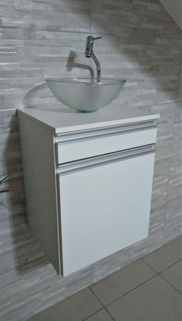 Gabinete P/banheiro MDF BRANCO C/ 1porta e 1gaveta P/ cuba de sobrepor  - Virtude Móveis