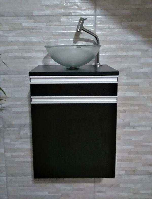 Gabinete p/banheiro MDF PRETO C/ porta e gaveta+CUBA+TORNEIRA+VÁVULA+SIFÃO  - Virtude Móveis