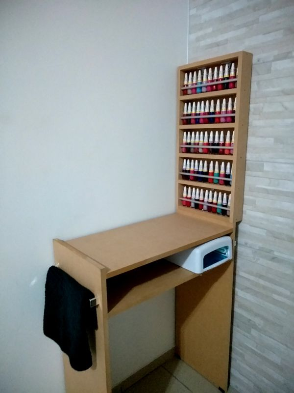KIT Manicure MDF CRU Mesa 60cm+expositor de esmaltes c/barra de aluminio  - Virtude Móveis