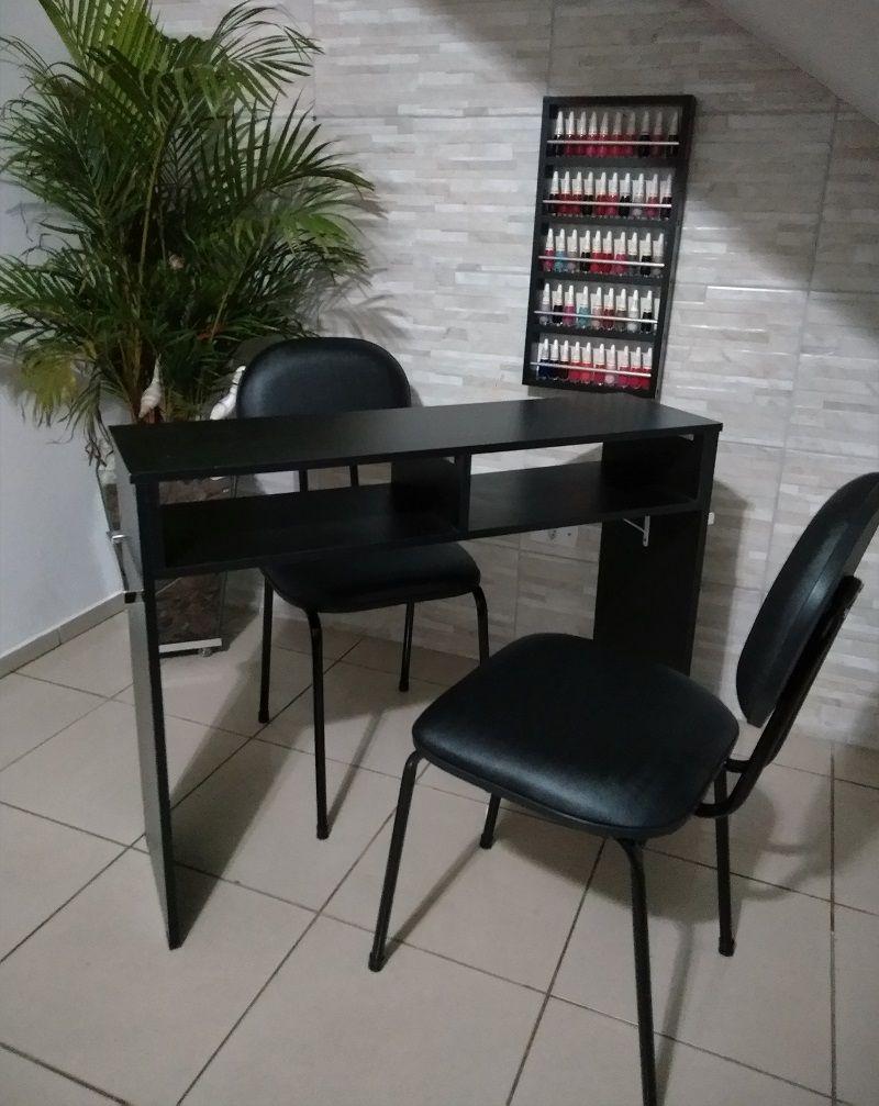 KIT Manicure MESA 100cm + expositor c/ Barras aluminio MDF PRETO  - Virtude Móveis
