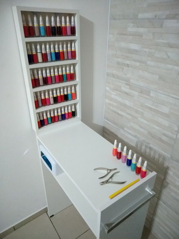 KIT Manicure Mesa 60cm c/ prateleira e alças+expositor de esmaltes   - Virtude Móveis