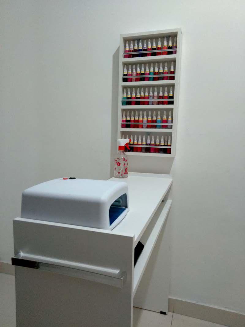 KIT Manicure Mesa 60cm+expositor de esmaltes c/barra de aluminio  - Virtude Móveis