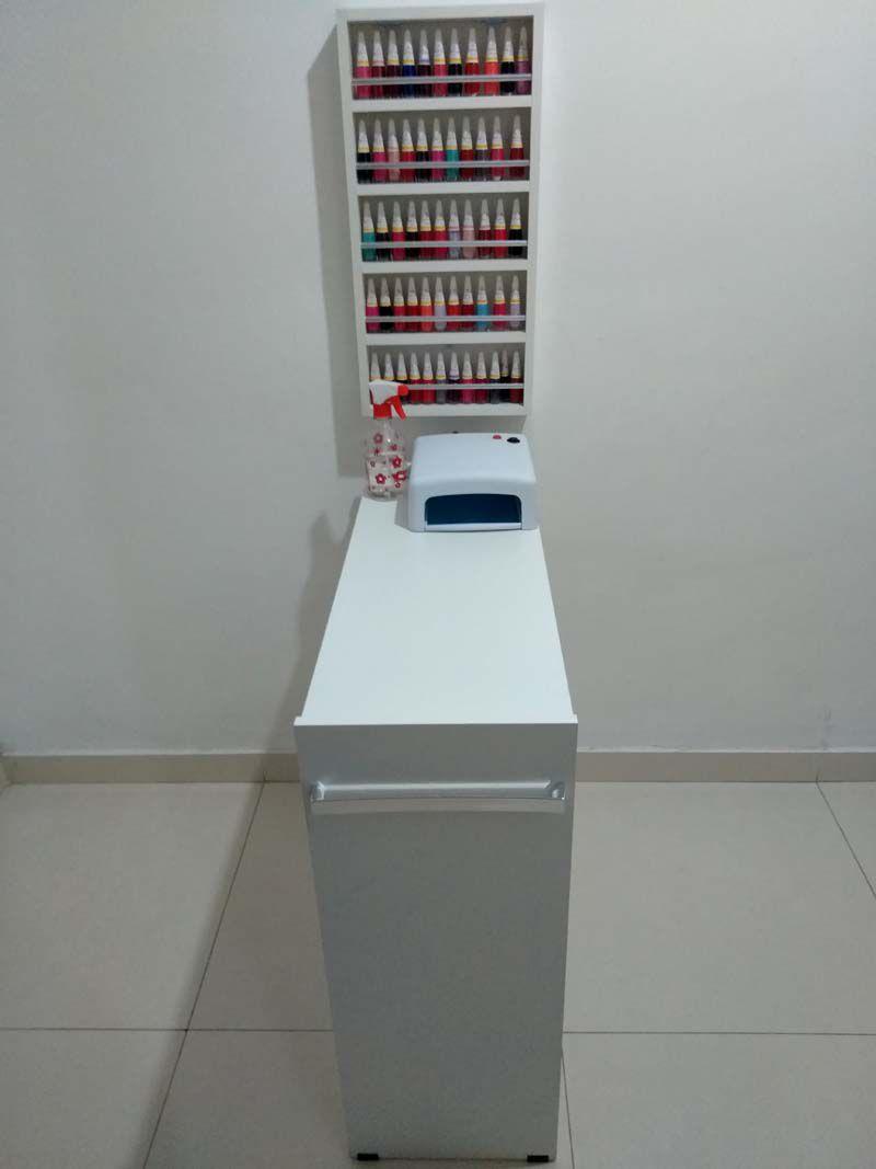 KIT Manicure Mesa 80cm+expositor de esmaltes c/barra de aluminio  - Virtude Móveis