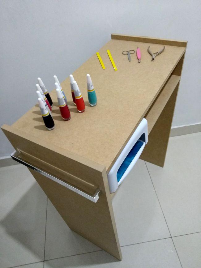 Kit P/ Manicure Mesa +expositor+compartimento Mdf Cru p/ pintura  - Virtude Móveis