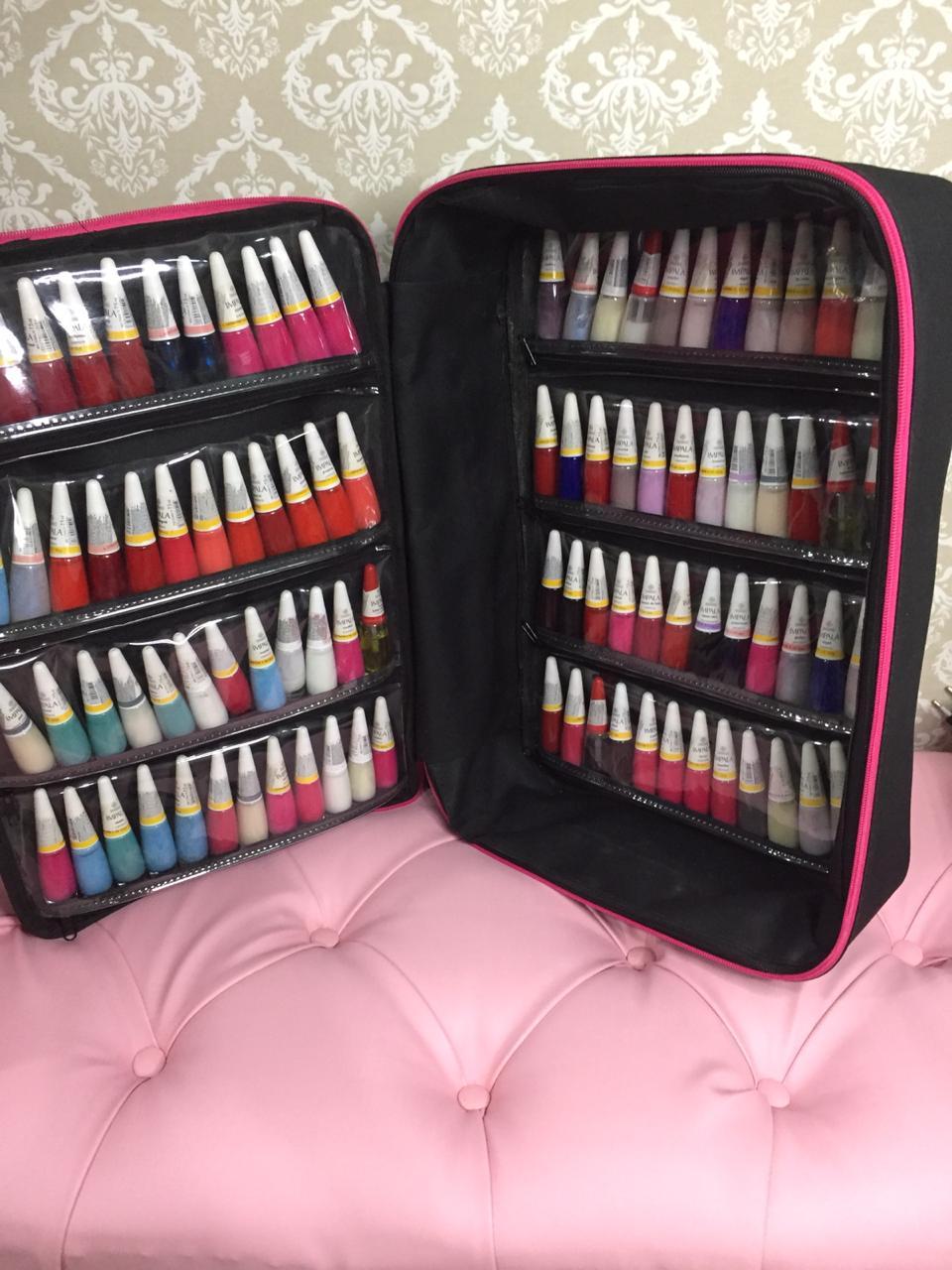 Maleta Mochila P/manicures P/90 Esmaltes Bolsa Pink  - Virtude Móveis