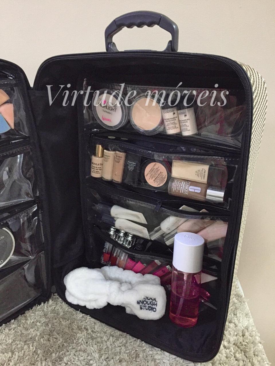 Maleta Mochila P/manicures P/90 Esmaltes Bolsa PRETO Com Pink  - Virtude Móveis
