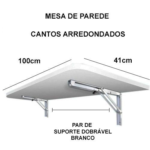 Mesa De Parede Dobravel-100cx50l -MDF Branco Prateleiras P/COZINHA COM CANTOS ARREDONDADOS  - Virtude Móveis