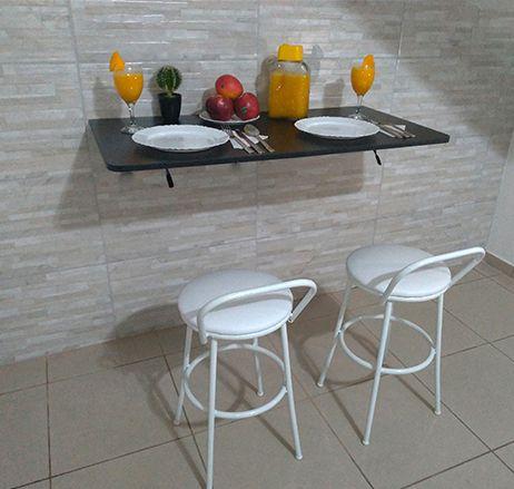 Mesa De Parede Dobrável 100X50 MDF Preto Prateleiras P/COZINHA COM CANTOS ARREDONDADOS  - Virtude Móveis