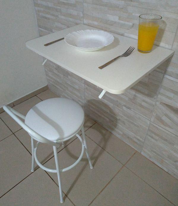 Mesa De Parede Dobrável-60c X 41l -Mdf Branco Prateleiras P/COZINHA,BARES ,RESTAURANTES ,APARTAMENTOS  - Virtude Móveis