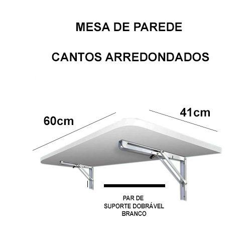 Mesa De Parede Dobrável-60c X 41l -Mdf Branco Prateleiras P/COZINHA COM CANTOS ARREDONDADOS  - Virtude Móveis