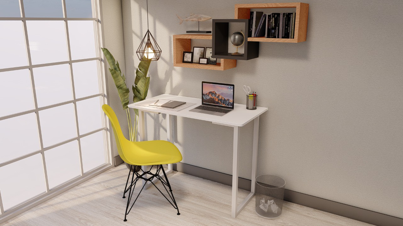 Mesa Multi Escrivaninha P/notebook Home Office 100x50 BRANCA  - Virtude Móveis