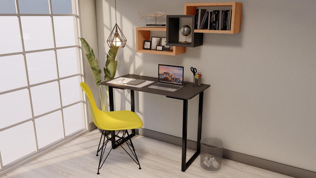 Mesa Multi Escrivaninha P/notebook Home Office 100x50 Preta  - Virtude Móveis