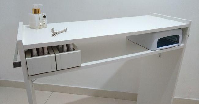 Mesa P/ Manicure C/ 2 Compartimentos P/Esmaltes 100%mdf  - Virtude Móveis